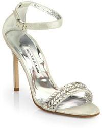 Manolo Blahnik Metallic Suede Ankle-Strap Sandals - Lyst