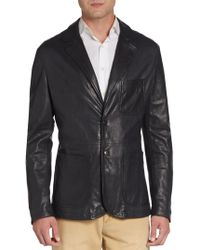 Giorgio Armani Notched-lapel Leather Sportcoat - Lyst