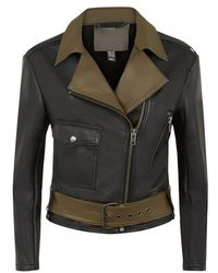 Muubaa Mariano Black/Olive Leather Biker Jacket - Lyst