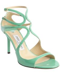 Jimmy Choo Peppermint Leather Strappy Open Toe 'Ivette' Pumps - Lyst