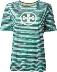 Tory Burch Logo Striped T-Shirt - Lyst