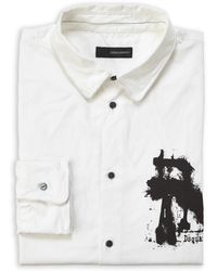 DSquared² White Graphic Logo Button Shirt - Lyst