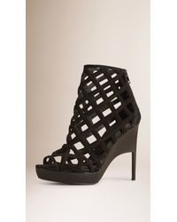 Burberry | Peep Toe Laser-cut Suede Platform Ankle Boot | Lyst