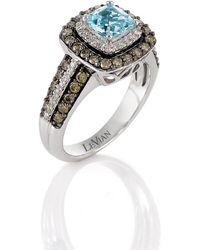 Le Vian - Sea Blue Aquamarine And Chocolate Diamond Ring In 14k Vanilla Gold - Lyst