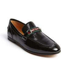 Gucci Black Textured Patent Leather Signature Buckle Penny Strap Loafer - Lyst