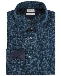 Paul Smith Petrol Blue Tiny Leaf Print Cashmere-Blend Shirt blue - Lyst