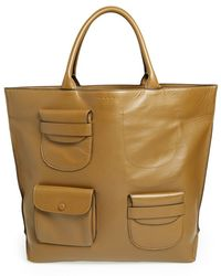 Marni Multipocket Leather Tote - Lyst