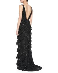 Alice + Olivia Powell Beaded Tiered Ruffled Gown - Lyst