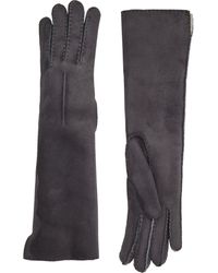 Barneys New York Shearling-Lined Long Gloves gray - Lyst