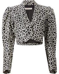 Yves Saint Laurent Vintage Printed Cropped Jacket black - Lyst