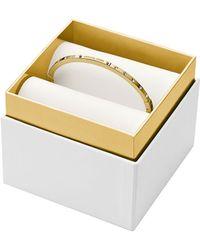 Michael Kors Gold Tone Logo Plaque Bangle Bracelet - Lyst