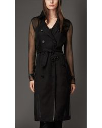 Burberry Silk Organza Trench Coat - Lyst