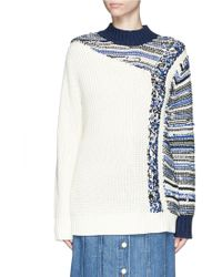 3.1 Phillip Lim | Patchwork Cable Knit Sweater | Lyst