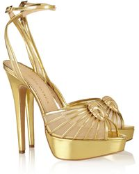 Charlotte Olympia Croissant Metallic Leather and Mesh Sandals - Lyst