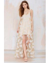 Nasty Gal Line & Dot Soft Feather Asymmetric Dress - Lyst