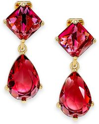 Lauren by Ralph Lauren Gold-tone Red Faceted Stone Double Drop Clip-on Earrings - Lyst