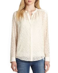 Rebecca Taylor Sheer Jacquard Silk-blend Blouse - Lyst