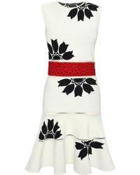 Alexander McQueen Flower Jacquard Mini Dress - Lyst