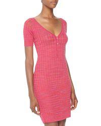 M Missoni Vneck Ridge Knit Sheath Dress - Lyst