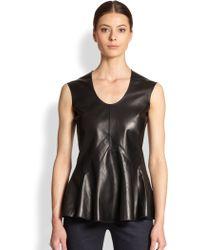 Derek Lam Leather & Jersey Peplum Top - Lyst