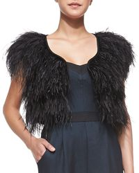 Milly Ostrich-feather Cocktail Bolero - Lyst