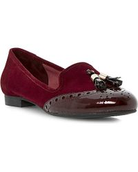 Dune Loki Tassel Leather and Suede Loafers - Lyst