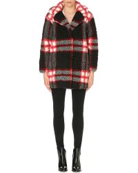 Sandro Checked Faux-fur Coat - Lyst