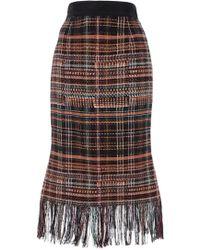 Kaelen Plaid Fringe Fluted Skirt Multi multicolor - Lyst