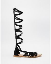 ASOS | Foley Knee High Plaited Suede Caged Sandals | Lyst