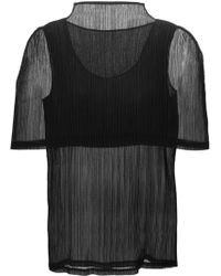 Issey Miyake Pleated Cape Top black - Lyst
