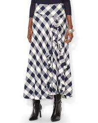 Ralph Lauren Lauren Ruffle Front Plaid Skirt - Lyst