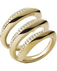 Michael Kors Golden Pave Statement Ring - Lyst