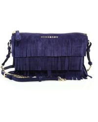 Burberry | Peyton Fringed Suede Crossbody Bag | Lyst