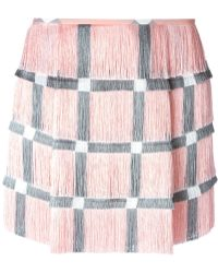 Marco De Vincenzo Checked Fringed Mini Skirt - Lyst