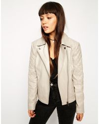 Asos Leather Biker Jacket With Multi Quilt Detail - Lyst