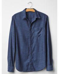 Gap Indigo Herringbone Shirt - Lyst