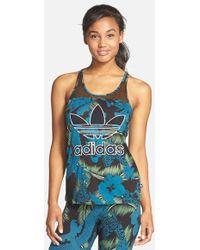 Adidas Originals 'Hawaii' Mesh Inset Logo Tank blue - Lyst