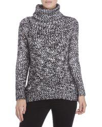 Pol - Black & White Marled Knit Turtleneck Sweater - Lyst