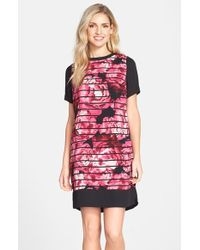 Marc New York By Andrew Marc Print Crepe De Chine Shift Dress - Lyst