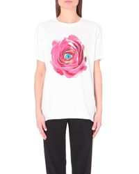 MSGM Floral-Graphic Cotton T-Shirt - For Women - Lyst