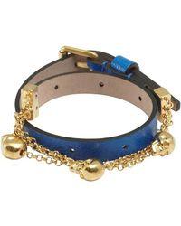 Alexander McQueen Bright Blue Leather Double Wrap Skull Bracelet - Lyst
