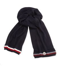 Moncler Cashmere Striped Reversible Scarf - Lyst