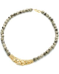 Gia Belloni Pyrite Short Textured Necklace - Lyst
