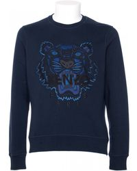 Kenzo Blue Cotton Sweatshirt With Tiger Embroidery blue - Lyst