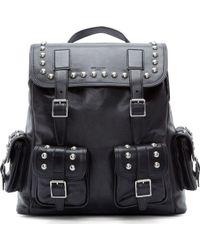 Saint Laurent Black Studded Leather Rock Backpack - Lyst