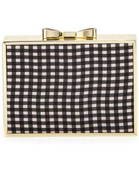 Betsey Johnson Gingham Bow Frame Clutch - Lyst