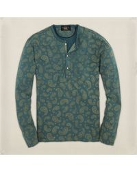 Rrl Blue Paisleyprint Henley - Lyst