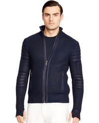 Ralph Lauren Black Label Rubberized Merino Wool Sweater - Lyst