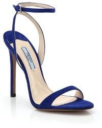 Prada Blue Suede Sandals - Lyst