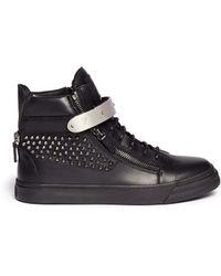 Giuseppe Zanotti 'London' Stud Leather Sneakers - Lyst